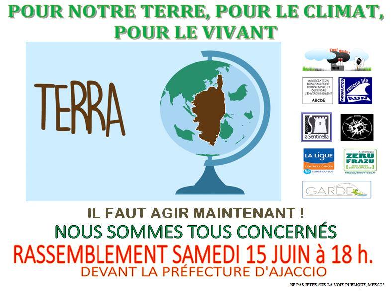 Flyer coordination associations Terra pour l'appel à rassemblement du 15/06/2019 devant la préfecture d'Ajaccio