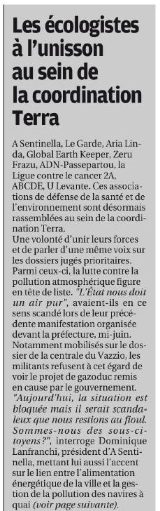 Encart Corse-Matin du 01/07/2019 page 13 positionnement de la coordination Terra avant la venue d'Edouard Philippe